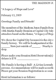 family reunion letter samples